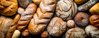 Different types of bread. Top view stock image