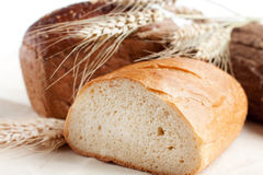 Different types of bread and wheat spikelets. Baton close up Stock Images