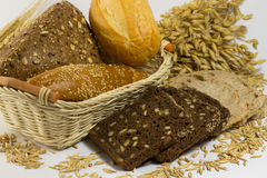 Different types of bread: white and black with seeds, baguettes. And rolls in a wicker basket. Grains of oats and oat sprigs royalty free stock photo