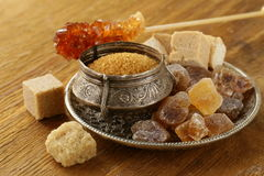 Different types of brown sugar Royalty Free Stock Photo