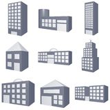 Different Types of Buildings Icons Set. On White Background Royalty Free Stock Photography
