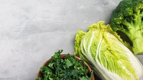 Different types of cabbage. Kale, chinese cabbage, broccoli on a gray background banner. Top view, copy space for text. Selective focus stock image