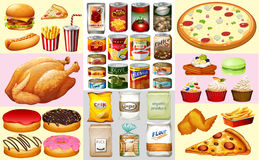 Different types of canned food and desserts. Illustration stock illustration