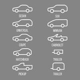 Different types of car body. Stock Photos