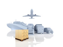Different types of cargo. 3d rendering Royalty Free Stock Images
