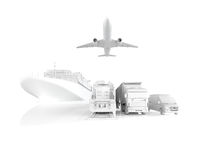 Different types of cargo. 3d rendering Royalty Free Stock Photography