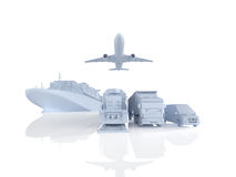 Different types of cargo. 3d rendering Royalty Free Stock Photos