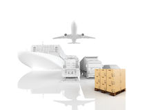 Different types of cargo. 3d rendering Royalty Free Stock Photo