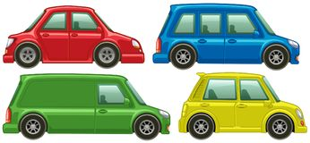 Different types of cars in four colors vector illustration
