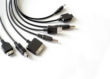Different types of chargers for phones Royalty Free Stock Image