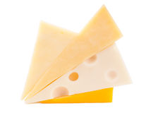 Different types of cheese. Isolated on white Royalty Free Stock Photos