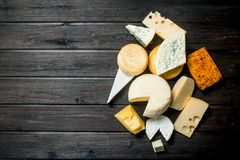 Different types of cheese stock photo