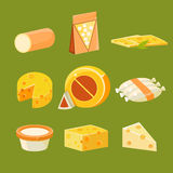 Different Types of Cheese, Flat Vector Royalty Free Stock Photos
