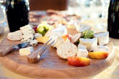 Different types of cheese and grapes as appetizer Royalty Free Stock Images