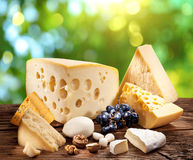 Different types of cheese over old wooden table. Royalty Free Stock Photos