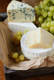 Different types of cheese on a tray Royalty Free Stock Images