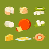 Different Types of Cheese Vector Illustration Set Royalty Free Stock Images