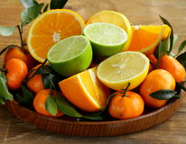 Different types of citrus fruits Royalty Free Stock Photos