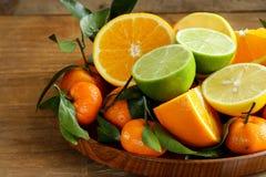 Different types of citrus fruits. (orange, lime, lemon, tangerine stock photos