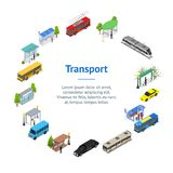 Different Types City Public Transport 3d Banner Card Circle Isometric View. Vector vector illustration