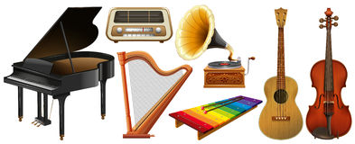 Different types of classical music instruments Stock Photos