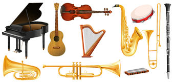 Different types of classical music instruments Stock Photography