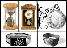 Different types of clocks royalty free illustration