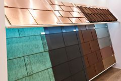 Different types of coatings for building panels. In store Stock Image