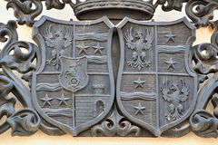 Different types of coats of arms. On different types of materials royalty free stock image
