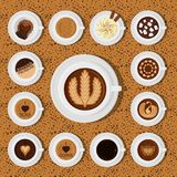 Different types of coffee chocolate cocoa cups top view perfect for menu assortment vector illustration. Royalty Free Stock Photo
