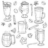 Different types of coffee in cups. Coffee background. Vector outline. EPS 10 Royalty Free Illustration
