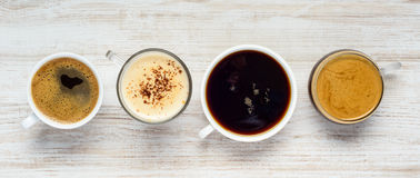 Different Types of Coffee Drinks Royalty Free Stock Photography