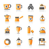 Different types of coffee industry icons Royalty Free Stock Photos