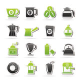 Different types of coffee industry icons Stock Photography