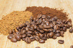 Different types of coffee. Lies in the form of a circle on a wooden board Royalty Free Stock Photo