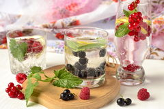 Different types of cold drink with berries Stock Image