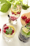 Different types of cold drink with berries Stock Photos