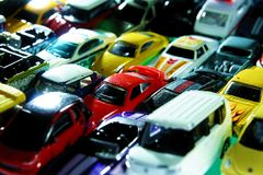 Different types and colors of toy cars Royalty Free Stock Image