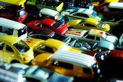 Different types and colors of toy cars Stock Photo