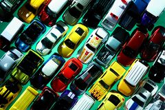 Different types and colors of toy cars Stock Image