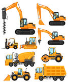 Different types of construction vehicles. Illustration Stock Images
