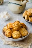 Different types of cookies on delicate background royalty free stock photos