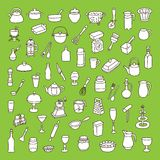 Different types of cookware. Set of 60 icons of different types of cookware royalty free illustration