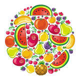 Different types of delicious fruits combined in ju royalty free illustration