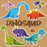 Different types of dinosaurs vector illustration