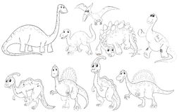 Different types of dinosaurs Royalty Free Stock Photography