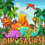 Different types of dinosaurs by the volcano Stock Photo
