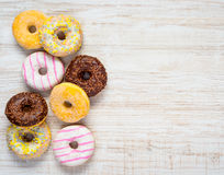Different Types of Donuts on Copy Space Stock Image