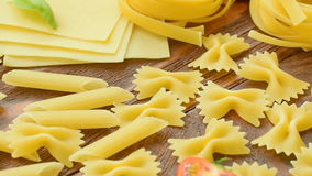 Different types of dry Italian pasta stock video
