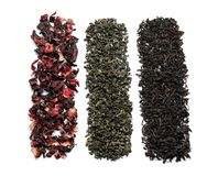 Different types of dry tea leaves on white background royalty free stock images